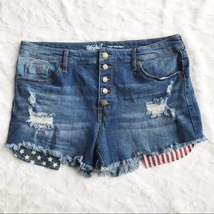 Mossimo High Rise Distressed Denim Shorts size 16